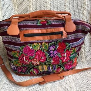 Huipil Floral Embroidered Leather Large Satchel